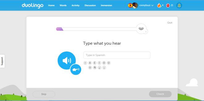 duolingo, start screen, learning language online, learning spanish, learning french, learning german, free language course